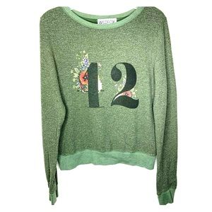 WILDFOX Green Graphic Floral Sweater Size XS